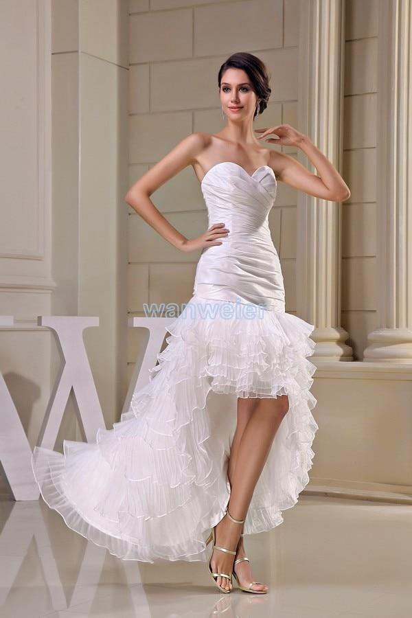 Livraison gratuite modeste 2016 nouveau design offre spéciale taille personnalisée court avant long dos grande taille robe plage longue robe de demoiselle d'honneur blanche - 2
