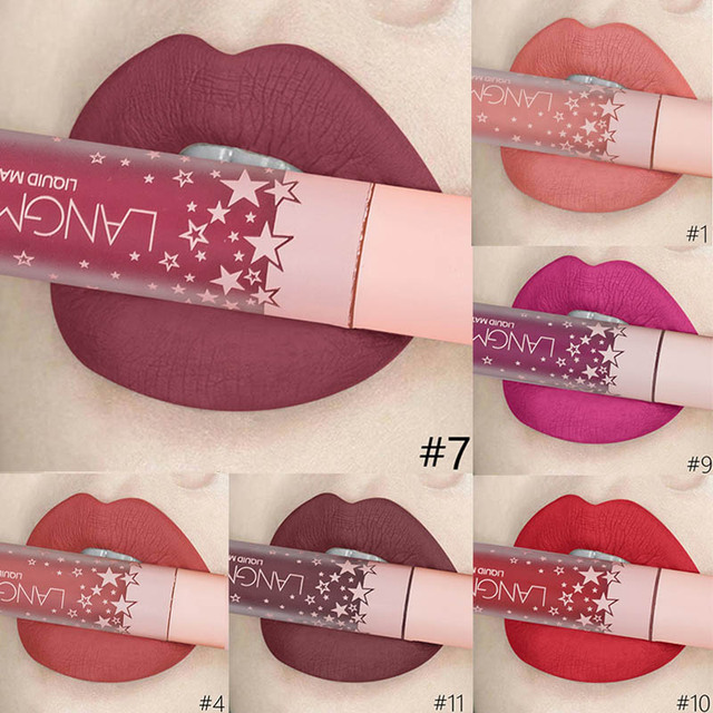 Pintalabios mate de 24 colores, Pintalabios rojo resistente al agua, brillo de labios de larga duración, maquillaje cosmético, rojo, púrpura, Color mate, lápiz labial líquido, maquillaje