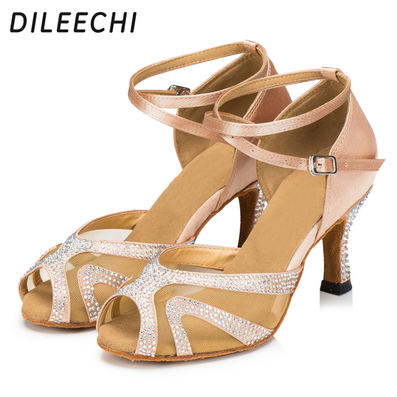 6c59d5a19c99fb DILEECHI Women s satin crystal rhinestone salsa tango Latin dance shoes  ballroom dancing shoes skin color heel 75mm