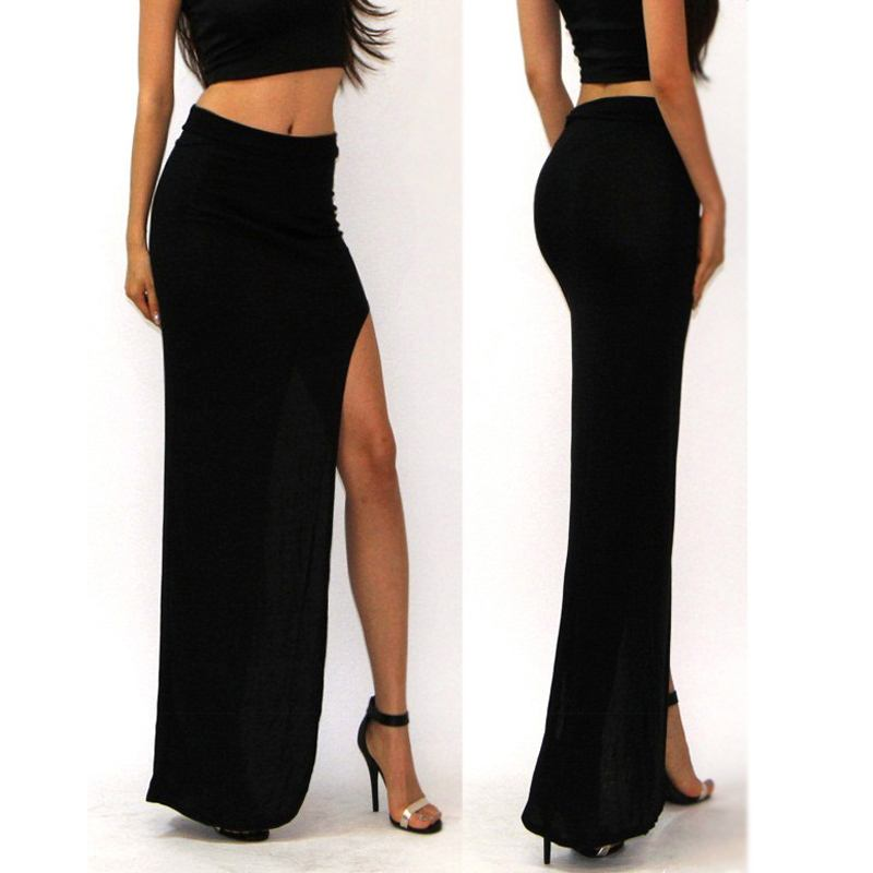 Online Get Cheap Long Black Skirt with Slit -Aliexpress.com ...