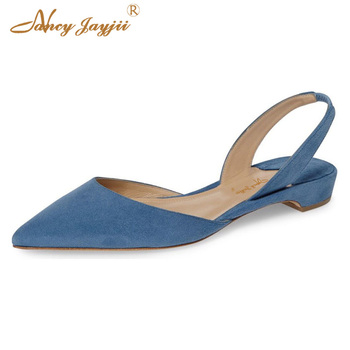 Rhea Black Red Blue Sandals Flat Slingback Casual Shoes For Women Classic Sexy Spring Summer 2019 Fashion Plus Size 15 16 Pointy