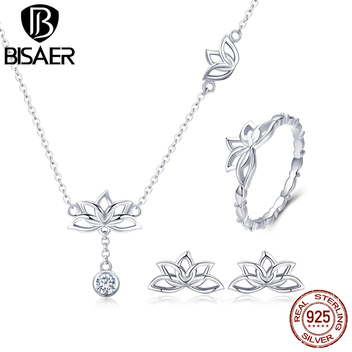 BISAER 925 Sterling Silver Lotus Flower Stud Earrings Rings Necklace Jewelry Sets for Women Elegant Valentine Gifts GUS067BISAER 925 Sterling Silver Lotus Flower Stud Earrings Rings Necklace Jewelry Sets for Women Elegant Valentine Gifts GUS067
