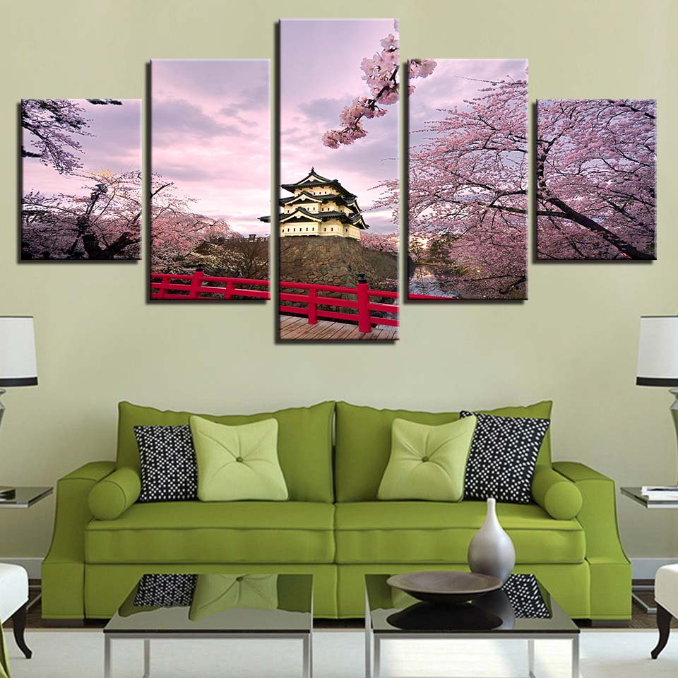 HD Prints Home Decoration Canvas Painting 5 Pieces Building Wall Art For Living Room Modular Pictures Landscape Artwork Poster