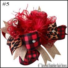 10 шт., клетчатые банты с бабочками, рождественские банты для волос с зажимами, клетчатые Детские банты из бутика ручной работы для девочек