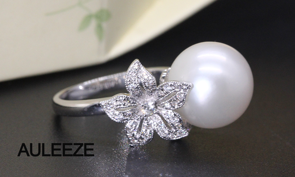Floral Design Real Diamond Ring 11mm Natural Seawater Pearl Ring 18K White Gold Engagement Wedding Rings For Women Fine Jewelry 3