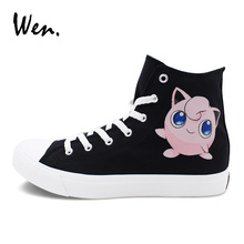 Wen Unisex Sneakers Canvas Design Jigglypuff Hand Painted Shoes Pokemon Shoes Anime Pocket Monster Lace Up Flat Footwear
