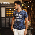 New Men T-shirt SIMWOOD Brand Short-sleeved O-neck Slim Fit Casual Print Letter Cotton Tee 2016 New Arrival Free Shipping TD1061