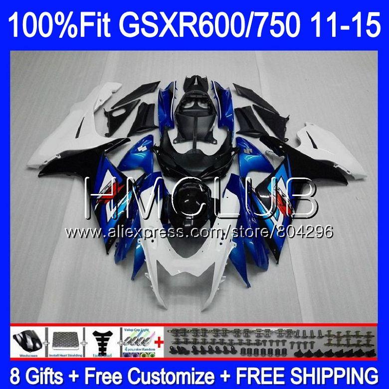 ¡La inyección para SUZUKI GSXR 600 K 5 750 azul blanco GSXR750 11 12 13 14 15 16 7HM! 20 K11 GSXR600 2011, 2012, 2013, 2014, 2015, 2016 carenado