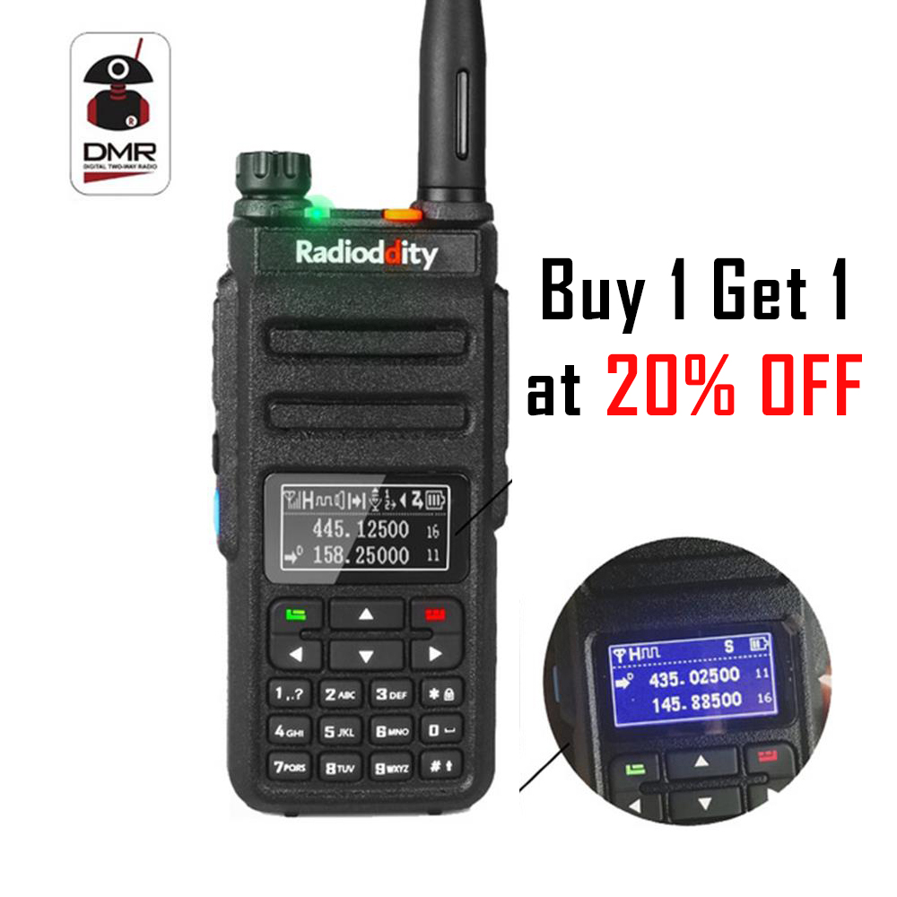 Radioddity GD-77BB Nuovo Schermo Dual Band Dual Slot di Tempo DMR Ham Two way Radio Digitale Radio Invertito Display Walkie Talkie
