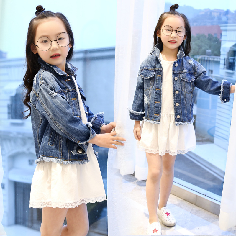 Spring Autumn Girls Korean All-match Jeans Cotton Jacket-dress Cowboy Two Pieces Kids Clothes Sets Children's Clothing Suits new autumn sweet girls sets two piece cardigan outwear cape jacket long sleeve dress cotton lace kids girls clothes sets