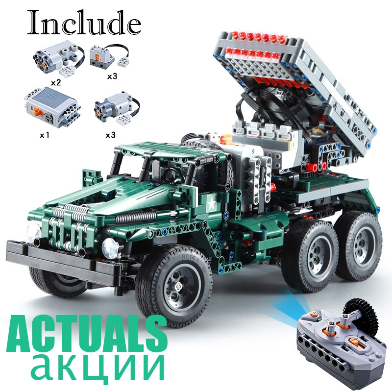 Remote Control Rocket Launcher Truck 2 in 1 Military Weapon 1369pcs Power Funcation Building Blocks Bricks