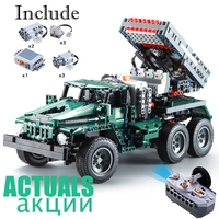Remote Control Rocket Launcher Truck 2 in 1 Military Weapon 1369pcs Power Funcation Building Blocks Bricks legoINGly DIY Toys