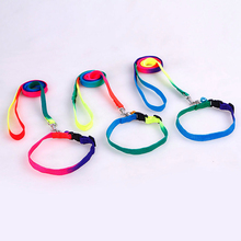 1 pcs Rainbow Color 120cm size Dog Leash Pet Puppy Nylon Lead Rope Slip Neck Strap Harness Collar Products Supply