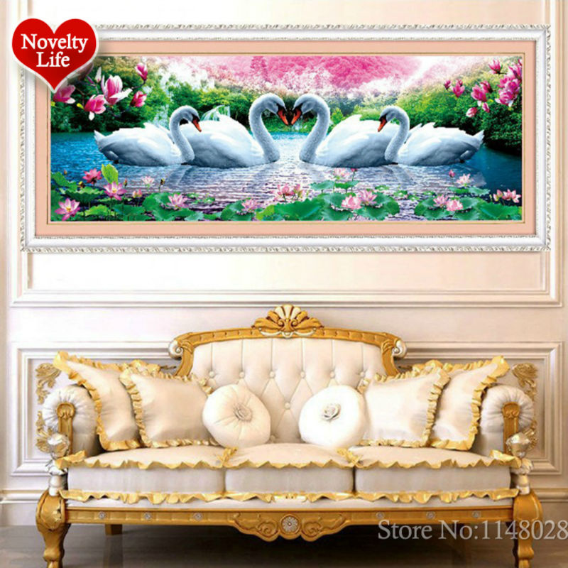 Image 2 - 5D 3D Diy Diamond Embroidery Crystal Painting Flowers Swans Love Magnolia Picture With Colored Rhinestones Wedding Decoration-in Diamond Painting Cross Stitch from Home & Garden on AliExpress
