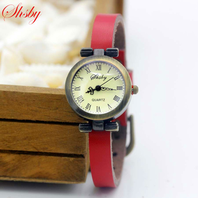 shsby fashion hot-selling women's leather strap watches female ROMA vintage watc