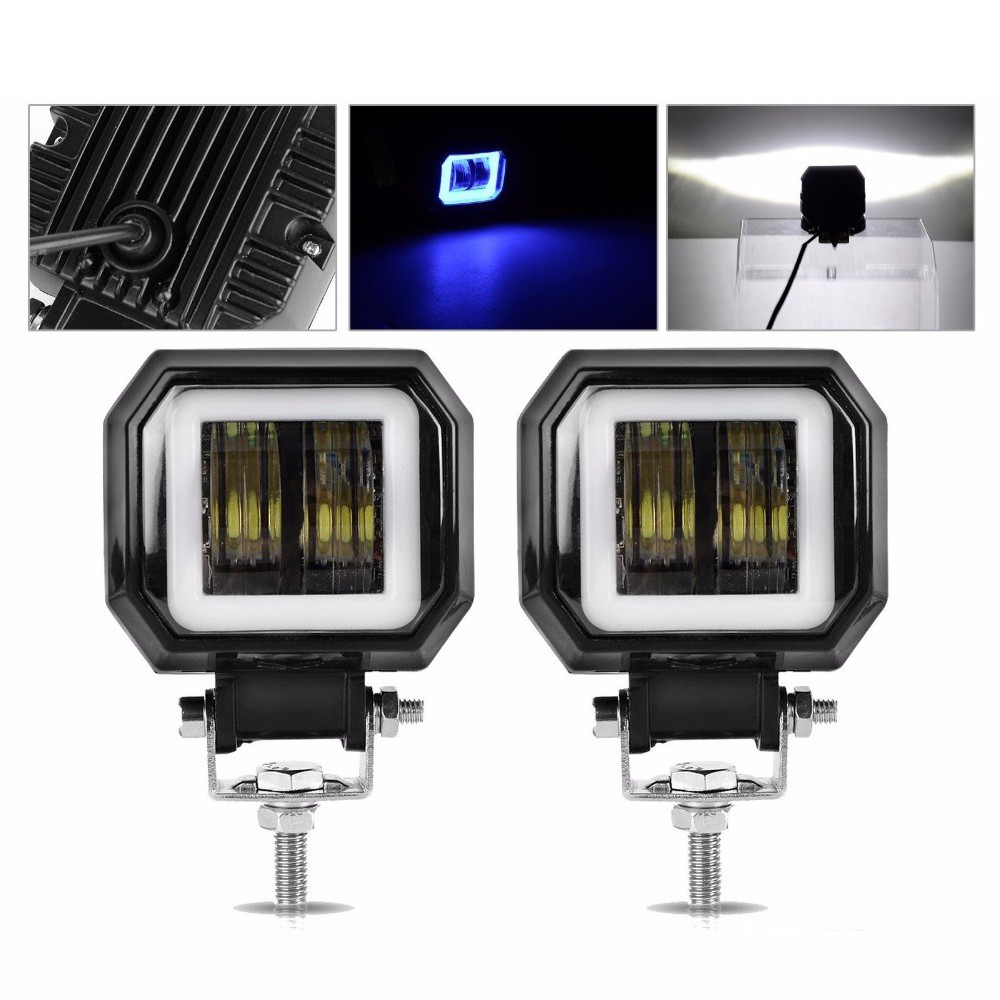 Krator 2PCS 3 Zoll 12V 24V 6500K 40W Wasserdicht Platz <font><b>LED</b></font> Angel Eyes Licht Bar offroad Auto Boot <font><b>led</b></font> Arbeit Licht image