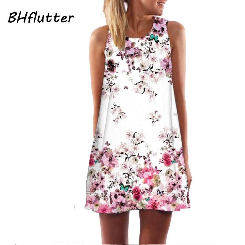 Las mujeres de bhflutter visten nuevo estilo 2018 del verano Vestido corto vestido floral casual mujer gasa Vestidos Boho Beach Vestidos vestidos