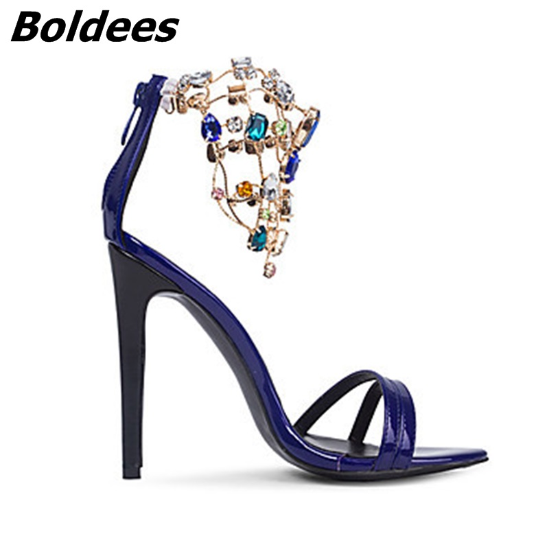 Trendy Designer Sexy Patent Leather Stiletto Heels Shoes Woman Bling Bling Rhinestone Ankle Wraped Dress Sandals Nightclub Shoe - 4