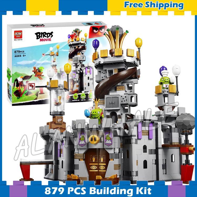 879 stücke Die Verrückte Vögel Film König Schwein Burg 10510 Bausteine Modell Spiele Ziegel Kinder Sets Spielzeug Geschenk kompatibel Mit Lego
