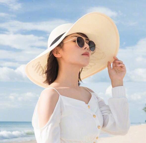 100% paper women summer large sun hat letter printing ribbon hat