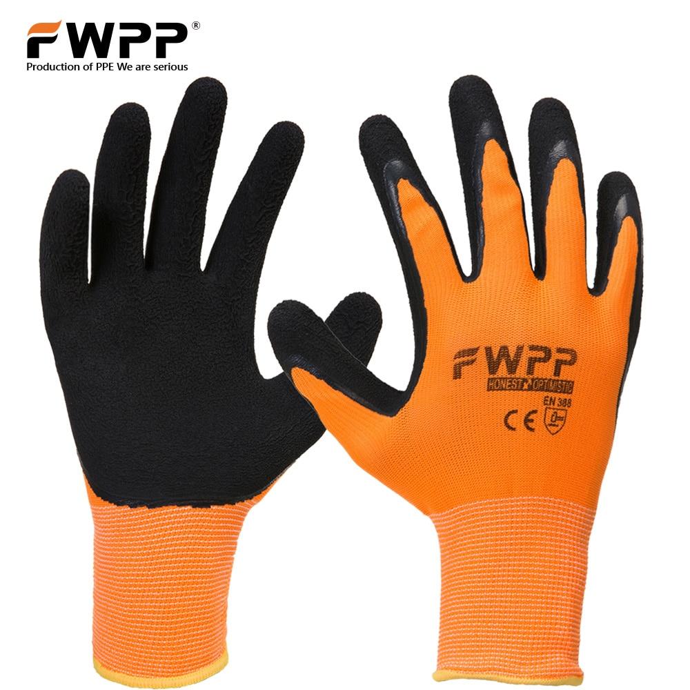 Fwpp 6 pares alta visibilidad nylon recubiertos de látex Guantes antideslizante resistente al desgaste suave y cómodo m L XL