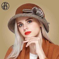 FS Women Foldable Wool Felt Hats With Raccoon Fur Pompon Flower Hat Fedoras Vintage Lady Church Caps Wide Brim Sombrero Fieltro