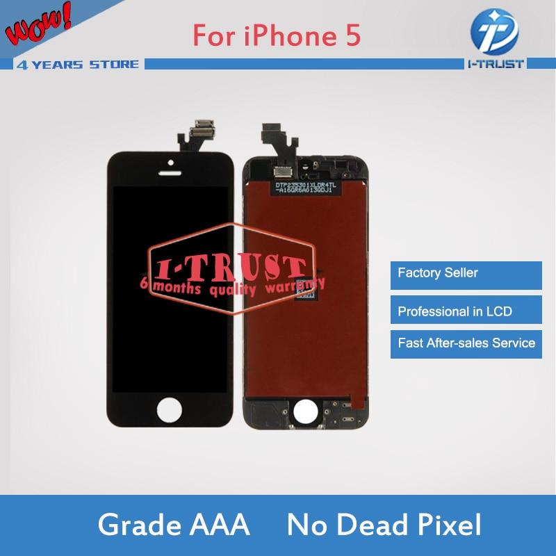 imágenes para A + + + Calidad 100 UNIDS/LOTE Pantalla LCD Para el iphone 5 5G 5C 5S DHL libre Envía con la pantalla táctil del sistema Completo Assembly Blanco y negro