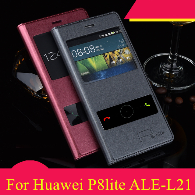 2016 Luxury Smart View Windows PU Leather Case Flip Cover For Huawei P8lite Huawei ALE-L21 Free Ship