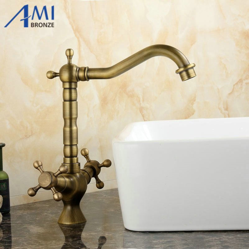 Kitchen Sink Bathroom basin Faucet mixer tap Antique Brass Finish Swivel Double Handle 360 swivel kitchen faucet antique brass chrome polish double handle bathroom basin sink mixer tap faucets