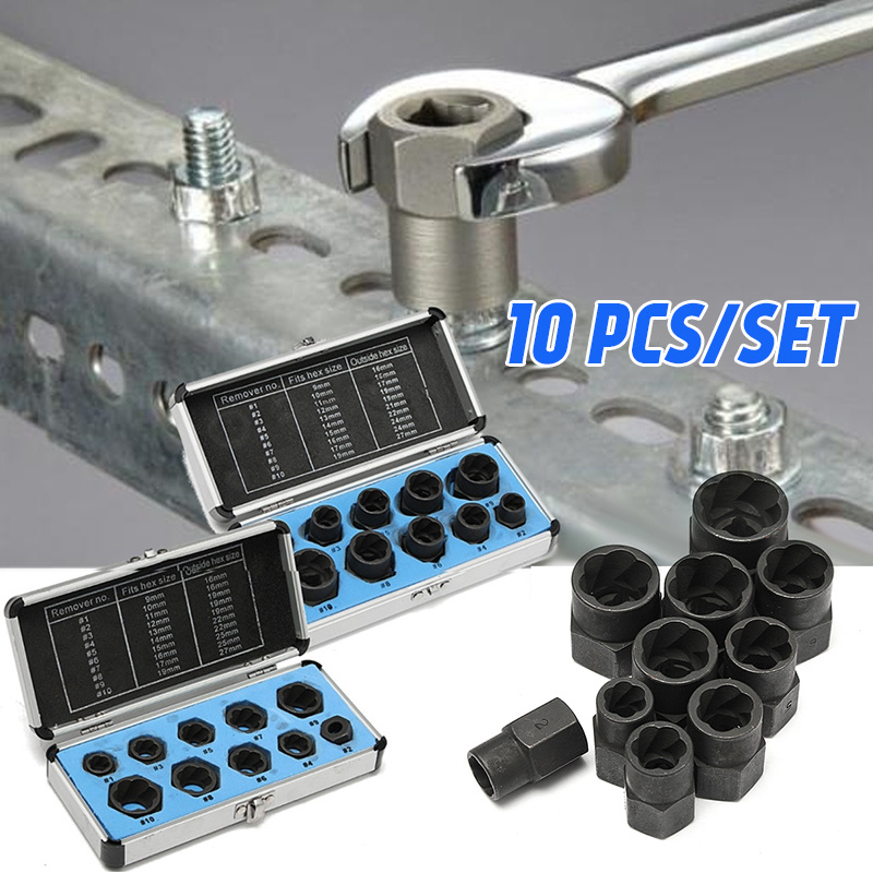 10Pcs/Box Nut Remover Kit Damaged Bolt Extractor Broken Screw Removal Socket Tool Screws Threading Removing Tools Set 5pcs durable screw extractor set high quality steel stud remover tool kit with box 3 18mm for hand tools