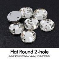 Cristales y piedras rhinestone plana 8mm/10mm/12mm/14mm/16mm/ 18mm cose en piedras de cristal transparente para la boda de la ropa envío libre