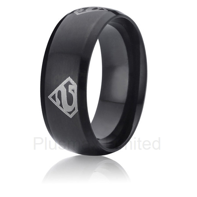 Anel de Casamento superman black color promise wedding band titanium rings for men