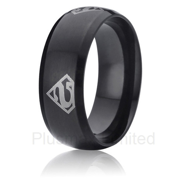 anel de casamento superman black color promise wedding band titanium rings for men - Superman Wedding Ring