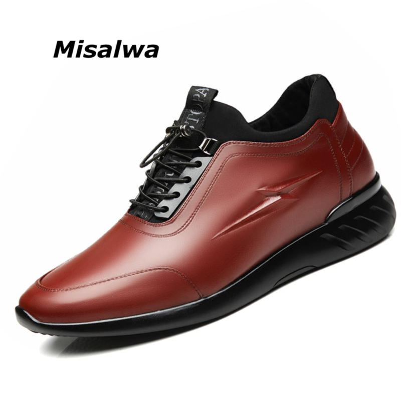 Misalwa Man Casual Sneakers Man Elevator Shoes Invisible 5 CM 7 CM Height Increase Leather Mens