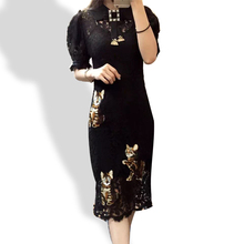 Short lantern sleeves petal pan collar cats print bodycon black lace dress 2016 high quality runway dresses for women N160408