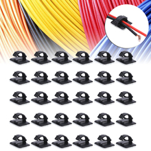 цена на 30pcs/bag Network Wire Clip Self-adhesive Car Cable Holder Rectangle Plastic Mount Tie Clamp For Home And Office Use