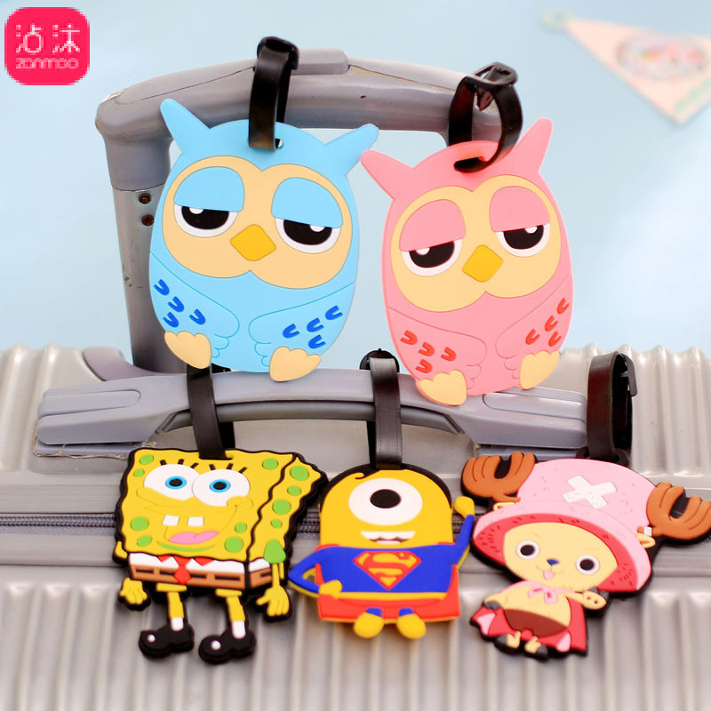 Luggage Tag Leather Thrashe  Suitcase Tag Travel Luggage Travel Case Of Cartoon Silicone Luggage Card