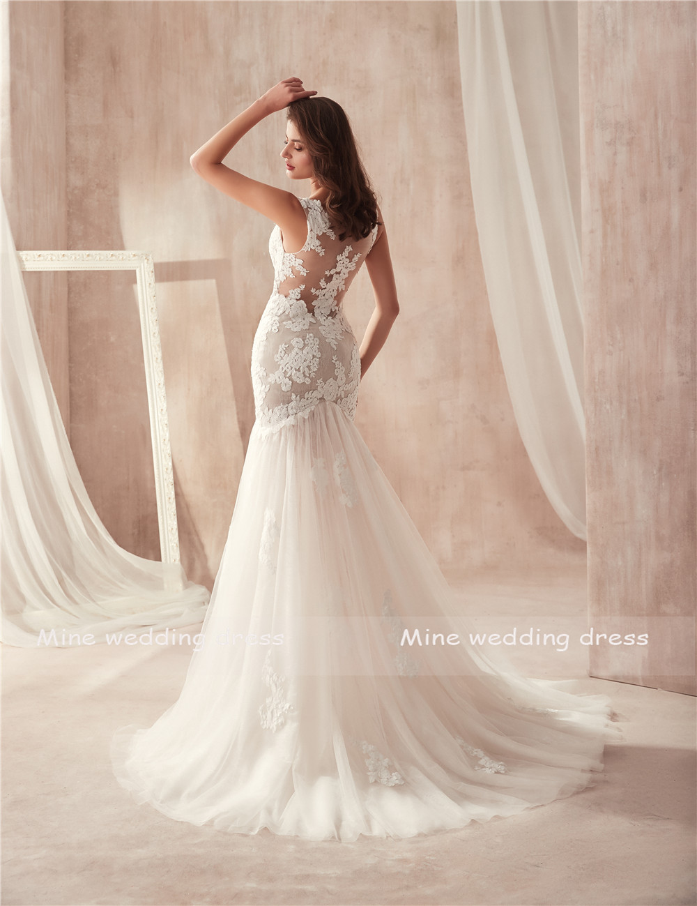Image 4 - V neck Nude Mermaid Wedding Dress Open Back with Lace See Through Sexy Bridal Gowns vestidos de noiva-in Wedding Dresses from Weddings & Events
