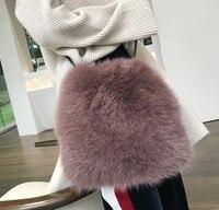 2017 Winter Weiche Faux Fur Bag Kleine Mode Frauen Pelz Einkaufstasche Warme Plüsch Handtasche Damen Crossbody Umhängetasche Luxus Messenger