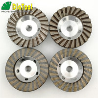 DIATOOL Diameter 100mm Aluminum Based Grinding Cup Wheel 5/8 11 Thread Diamond Grinding disc for Granite marble concrete brock