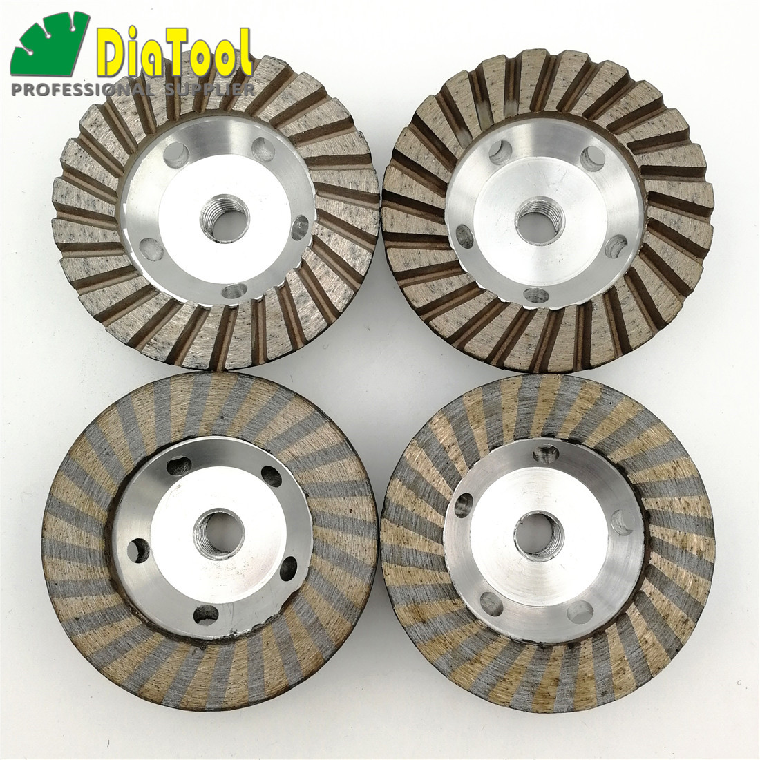 DIATOOL Diameter 100mm Aluminum Based Grinding Cup Wheel 5/8-11 Thread Diamond Grinding disc for Granite marble concrete brock 2pcs dia 125mmx10mm vacuum brazed diamond grinding wheel dia 5 beveling wheel flat for marble granite artificial concrete stone