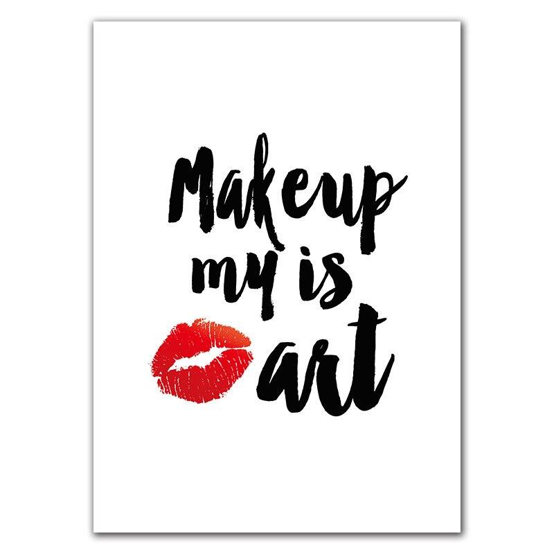 HTB1yXP6K6DpK1RjSZFrq6y78VXal Makeup Girl Wall Pictures Art Print Fashion Beauty Canvas Painting Red Lip Art Poster Eyelash Wall Decor картины HD2613