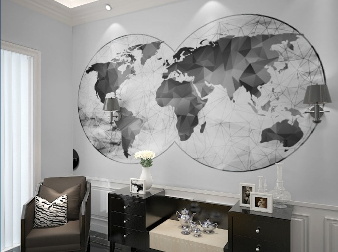 Free Shipping World map black white wallpaper modern minimalist TV background wall living room bedroom study wallpaper mural  free shipping hepburn classic black and white photos wallpaper old photos tv background wall mural wallpaper