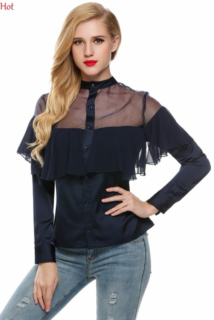 5580658173821 2017 Plus Size Ruffled Blouses Cute Women Tops Mesh Patchwork Blouses  Princess Sweet Casual Slim Party