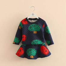 2016 Autumn And Winter Girls Clothing Children O Neck Long Sleeve Sweatshirt Short Skirt Twinset Baby Cartoon Set Free Shipping