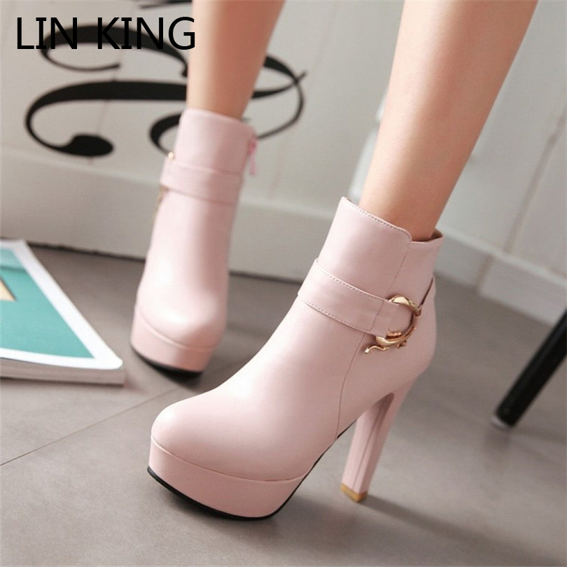 LIN KING Womens Faux Leather Comfortable Ankle Boots Platform High Heel Booties for Female Buckle Winter