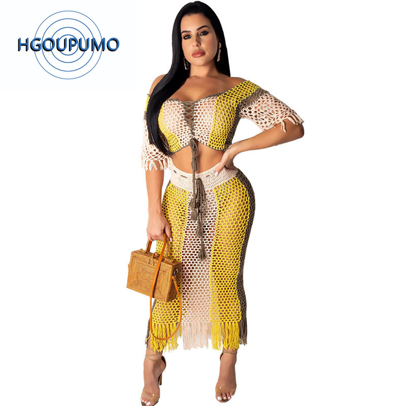 Women Summer Hollow Out Tassel Sexy Beach Dress Off the Sholder Fishnet Two Piece Dresses Sheer Mesh Boho Party Bodycon Dress