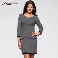 Kaige Nina Women Dress 2018 Autumn Dresses Solid Colours Three Quarter Sleeve Women Clothing Office Lady