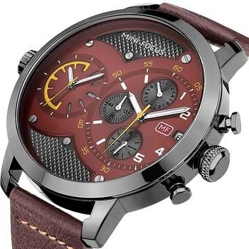 New famous brand watches MINI FOCUS Men Wrist Watches casual waterproof leather Quartz watch calendar relogio masculino
