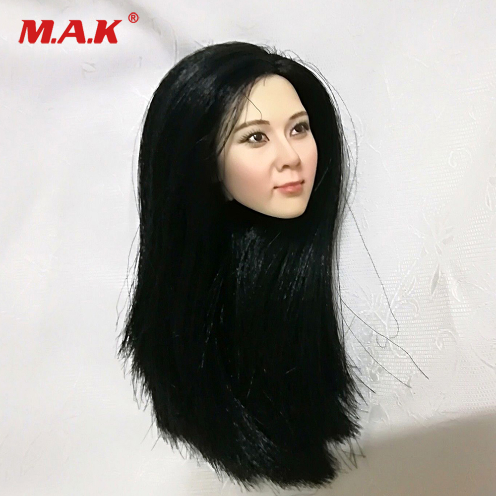 1/6 Scale Korean Star Pale tone black Long Hair Head Fit 12inch Woman Body ph female Action Figures1/6 Scale Korean Star Pale tone black Long Hair Head Fit 12inch Woman Body ph female Action Figures